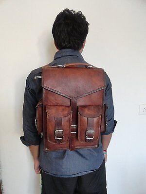 Vintage Brown Men's Leather Backpack bags shoulder Briefcase rucksack laptop bag