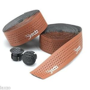 Bicycle-Handlebar-Tape-Deda-Elementi-Leather-Look-Brown-with-End-Caps