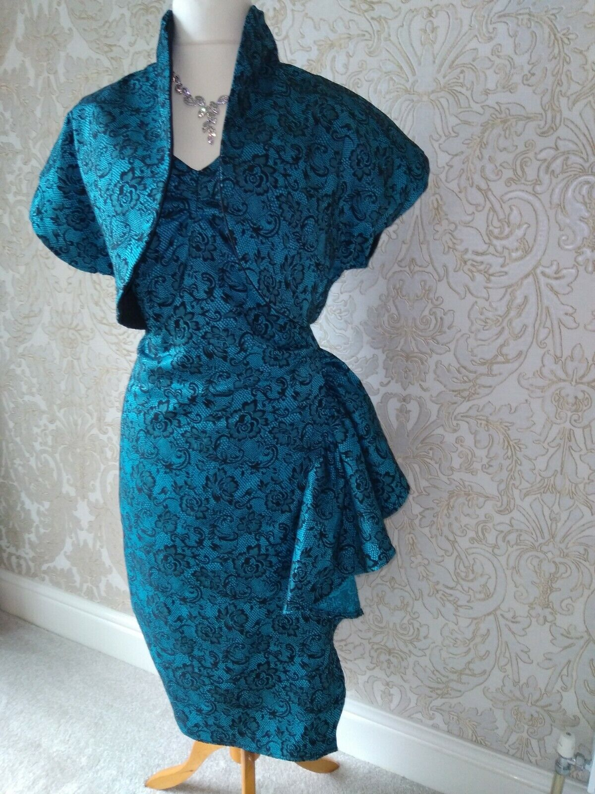 mother of the bride dress and matching bolero jacket new16 teal stretch brocade