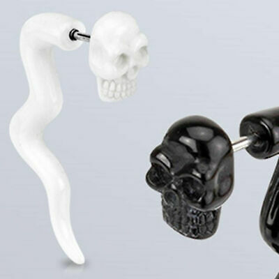 PAIR-Tapers Spiral Skulls White on Black Acrylic 06mm//2 Gauge Body Jewelry