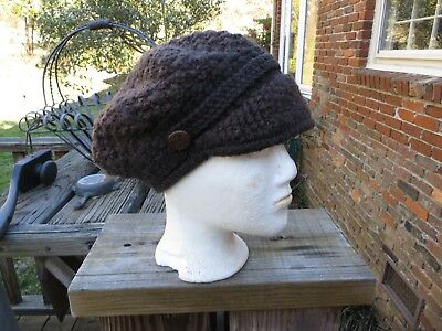 Wm's Drk Brown Hand Knitted Newsboy Hat Cap w// Short Soft Visor Side Buttons