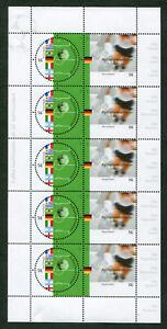 Bund-5-x-2258-2259-KB-postfrisch-Motiv-Fussball-2002-kompletter-Kleinbogen