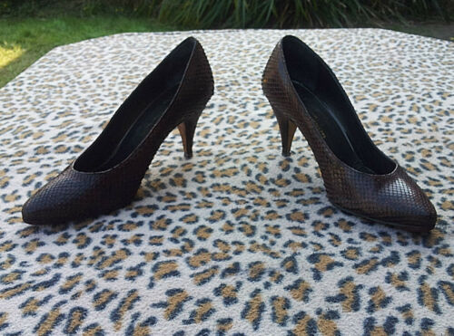 Leather Snakeskin scarpe Uk Anderson Size 5 Vintage Creazioni 38 Brown Eu xwtqZgWBRT