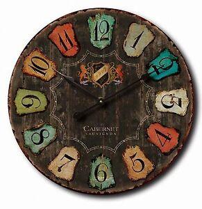 60cm-Industrial-Rustic-Wine-Maker-Cabernet-Sauvignon-Barrel-Lid-Wood-Wall-Clock