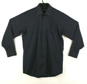 Donald-J-Trump-Signature-Collection-Dress-Shirt-Black-Blue-Stripes-Size-15-5-32