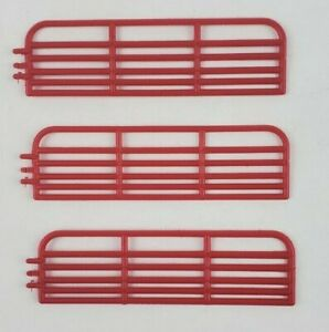 1//64 scale ALL METAL 16 foot red cattle gates by C/&D lot of 3