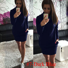 Womens Pockets Hoody Hooded Jumper Sweatshirt Laides Bodycon Sweater Mini Dress