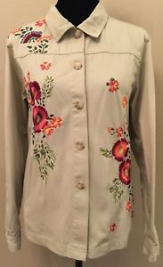 Coldwater-Creek-Womens-Jacket-Large-Beige-Floral-Long-Sleeve-Button-Down-Cotton