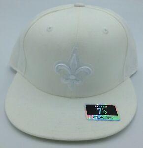 NFL New Orleans Saints Reebok Adult Structured Flat Brim Fitted Cap ... 0af919312