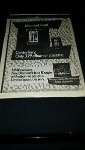 Diamond Head Canterbury Rare HMV Promo Poster Ad Framed ...