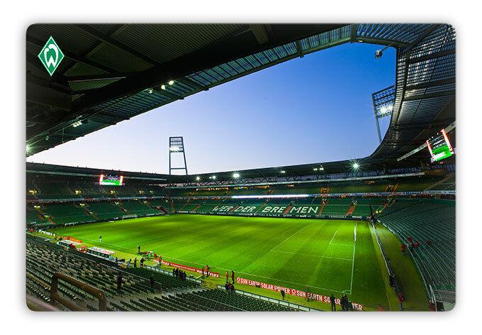 SV Werder Bremen Glasbild Weserstadion innen Fußball Wanddeko Glas Bremen Sport  | Die Farbe ist sehr auffällig