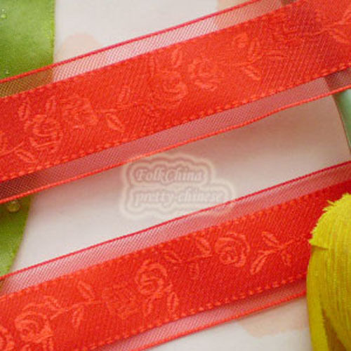 """50 Yards Red 24mm 1"""" Rose Flower Organza Ribbons  Craft Sewing Trimming  New"""