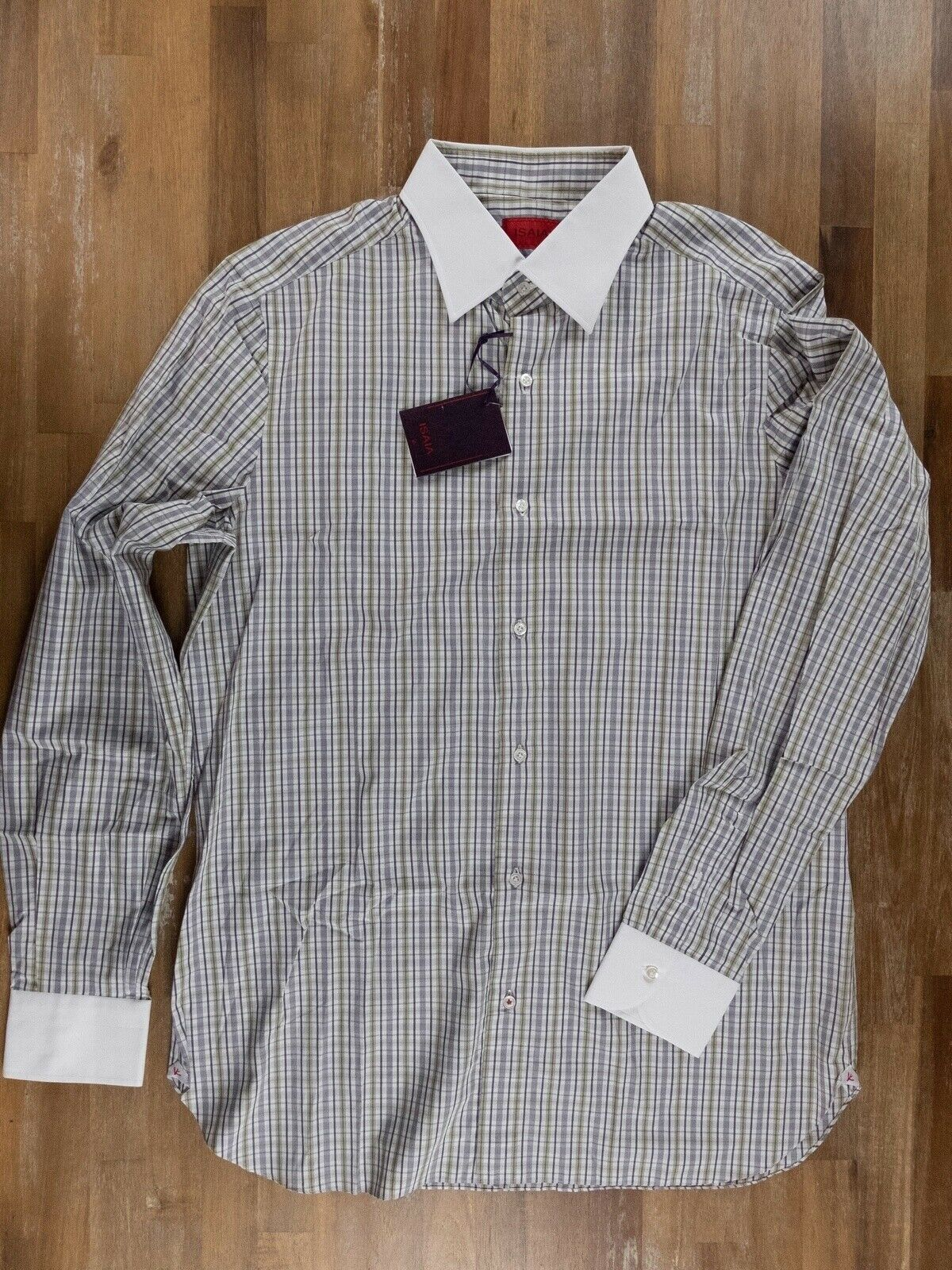 ISAIA Napoli constrasting collar plaid cotton shirt - Größe 43   17 - NWT