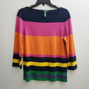 Ralph-Lauren-Womens-Sweater-PL-Multi-color-Stripes-3-4-Sleeves-Silk-Blend-Soft