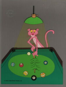 Pink-Panther-034-Pink-8-Ball-034-Sericel-cel-1992-DePatie-Freleng-Pool-hall-Pool-cue