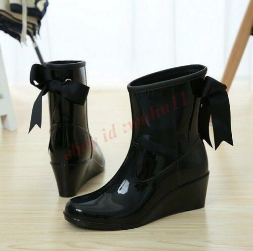 Womens Fashion Wedge Heel Ankle Boots Warm Rain Shoes Chic Waterproof Skid Shoes