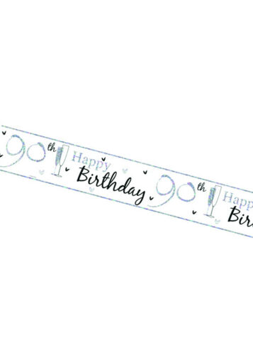 White and Silver Happy 90th Birthday Banner