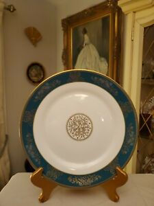 2-WEDGWOOD-china-AGINCOURT-BLUE-amp-GOLD-R4513-pattern-DINNER-PLATES-10-3-4-034