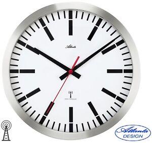 Xl grand atlanta 47 horloge murale radio pilot e de gare inox bureau 45 cm 048 ebay for Horloge murale inox
