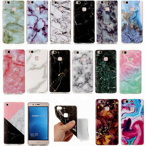 separation shoes 3f4c2 871a4 Details about Granite Marble Pattern Slim Soft TPU Case Cover For Huawei P8  P9 P10 Lite 2017