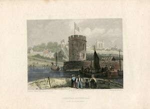 Chester-Cathedral-From-The-Water-Tower-Engraved-By-B-Winkles-on-Drawing