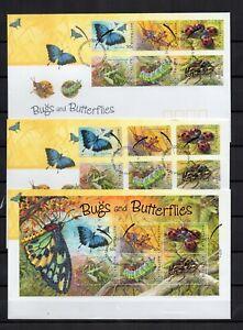 AUSTRALIE-Papillons-BUGS-amp-BUTTERFLIES-Serie-6-Tp-Bloc-Adhesif-sur-3-FDC