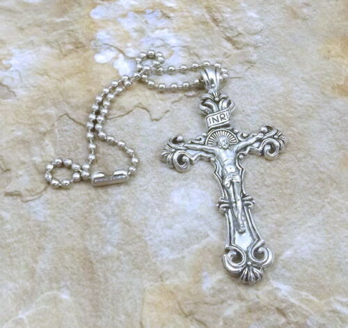 """5128 PEWTER  2-1//4/"""" CRUCIFIX Rear View Mirror Ornament"""