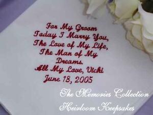 Image Is Loading Groom Handkerchief From Bride Wedding Favor Custom Made