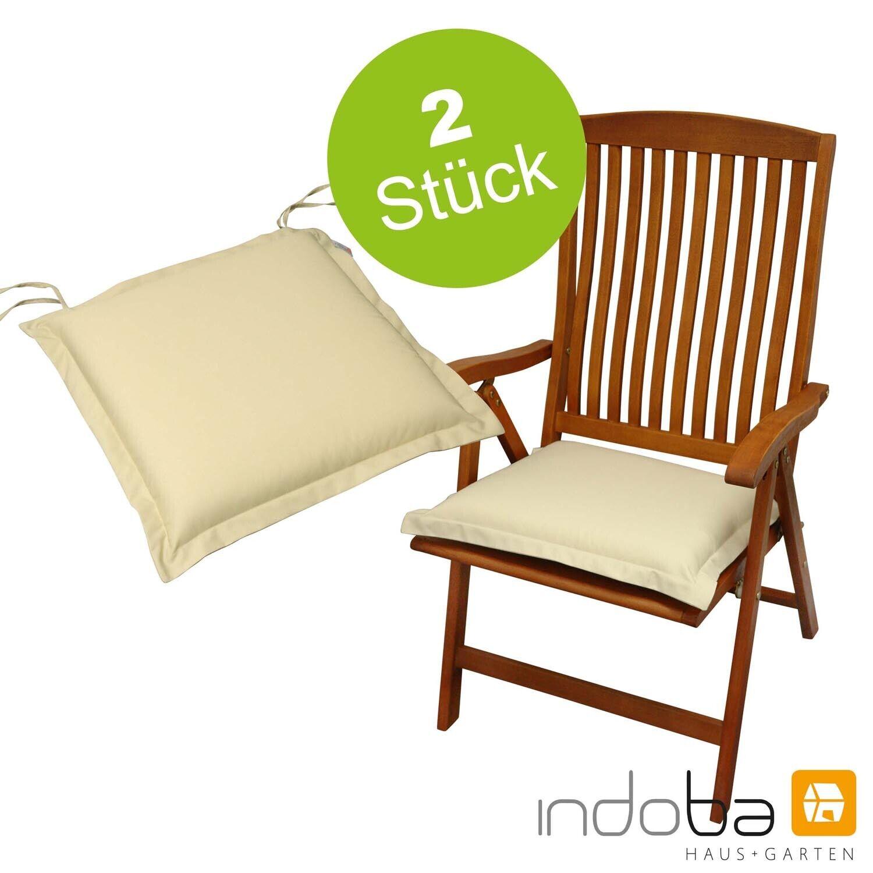 2x Sitzkissen Sitzauflage Stuhlkissen Polsterauflage Kissen - extra dick - Beige