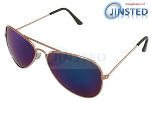 Blue-Mirrored-Sunglasses-Pilot-Sunnies-Reflective-Lens-Gold-Frame-Shades-AA010