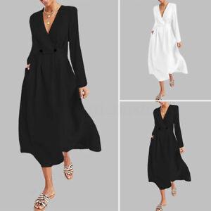 Elegant-Femme-Manche-Longue-Col-V-Profond-Taille-haute-Decontracte-Robe-Dresse