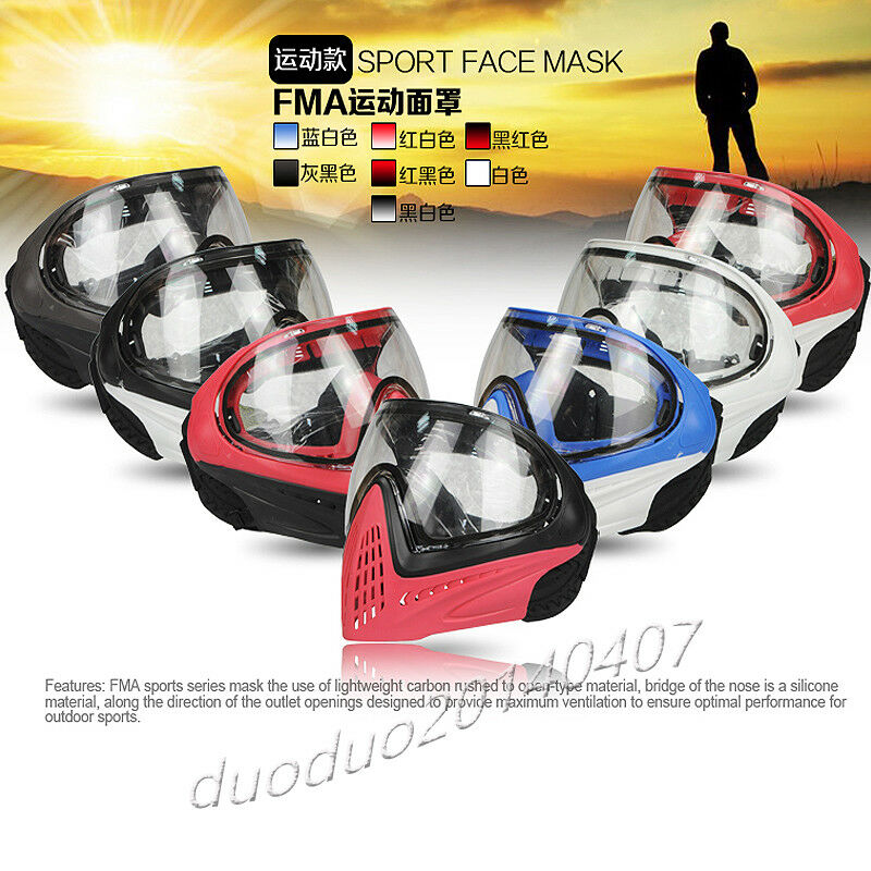 FMA F1 Paintball Airsoft Safety Anti-fog 21 colors Goggle   Full Face Mask