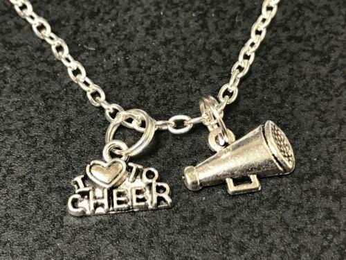 Cheerleader Love to Cheer Flat Megaphone Charm Tibetan Silver 18 Necklace
