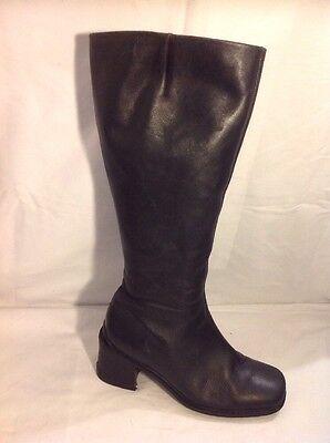 Ecco Negro Knee High Cuero Botas Talla 4.5
