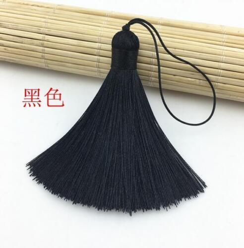 10pcs Ice Silk Tassel Pendant Women Earrings Bag Men Keychain DIY Jewelry  8cm
