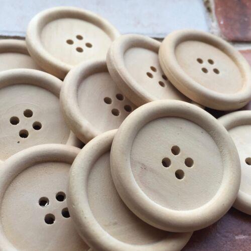 Cuatro botones de los botones de madera natural Agujero Perfecto 2 Paint-unlacquered