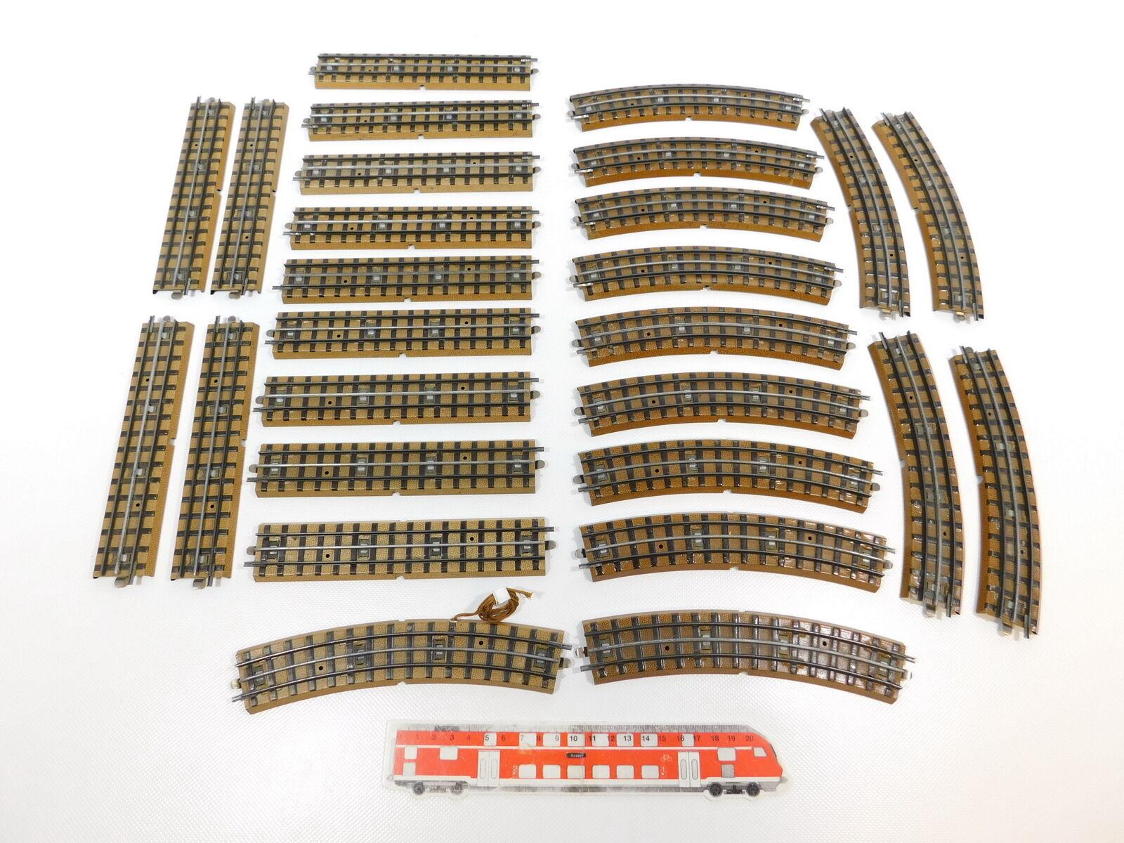 CH23-2  27x Märklin H0 00 AC Gleisstück (M-Gleis) für 3600 800, Hohlprofil