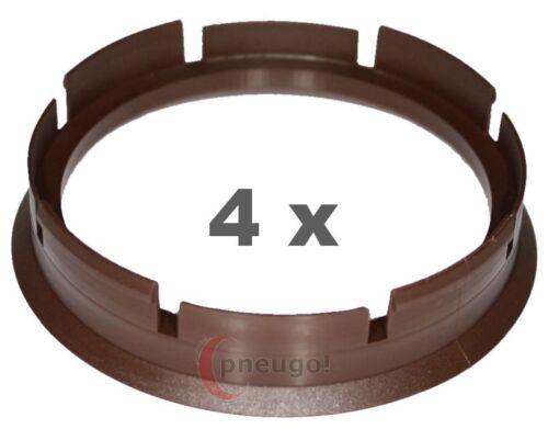 4 pezzi anelli di centraggio in plastica 72.6mm a 63.4mm Marrone Scuro
