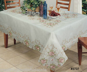 Embroidered-Pink-Rose-Floral-Cutwork-Sheer-Tablecloth-70x120-034-amp-12-Napkins-3737W
