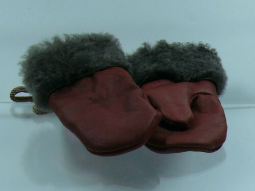 SHEEPSKIN ONE FINGER  MITTENS BABY HANDMADE 100/% LEATHER WITH RIBBON 12-36 MONTH