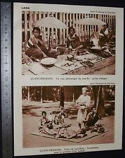 PHOTO 1930 COLONIES FRANCE INDOCHINE LAOS LUANG-PRABANG Marché PONT SORCIER