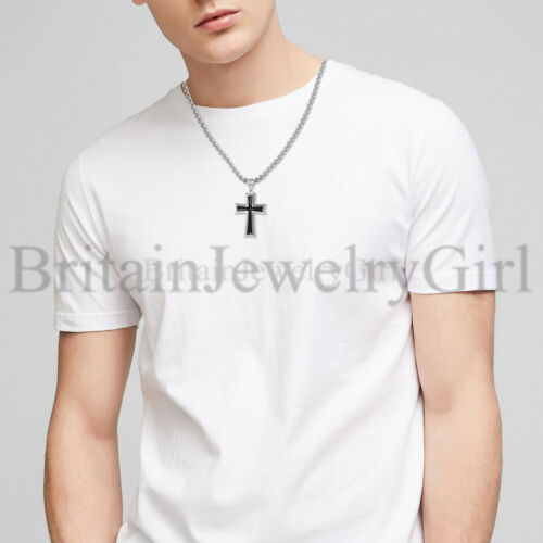 """22/"""" Stainless Steel Cross Pendant Necklace Chain Religious Jewelry for Men Women"""