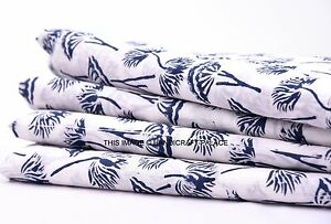 45-034-White-Cotton-Cambric-Hand-Block-Print-Crafting-Sewing-Fabric-By-2-5-Yard