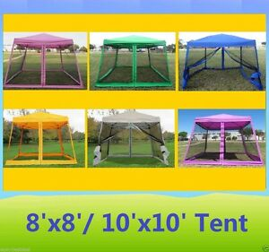 Image is loading 8-039-x8-039-10-039-x10-039-  sc 1 st  eBay & 8u0027x8u0027/10u0027x10u0027 Pop Up Canopy Party Tent Gazebo EZ w Net - 6 Colors ...
