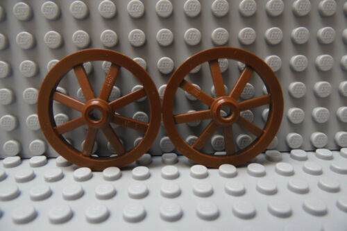 LEGO Pair Large Brown Wagon Wheel 33mm