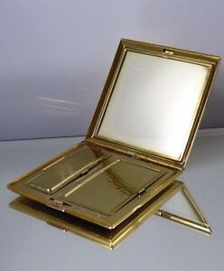Vintage Compact Square Gold Tone Blush Powder Mirror Etched Lines Vanity