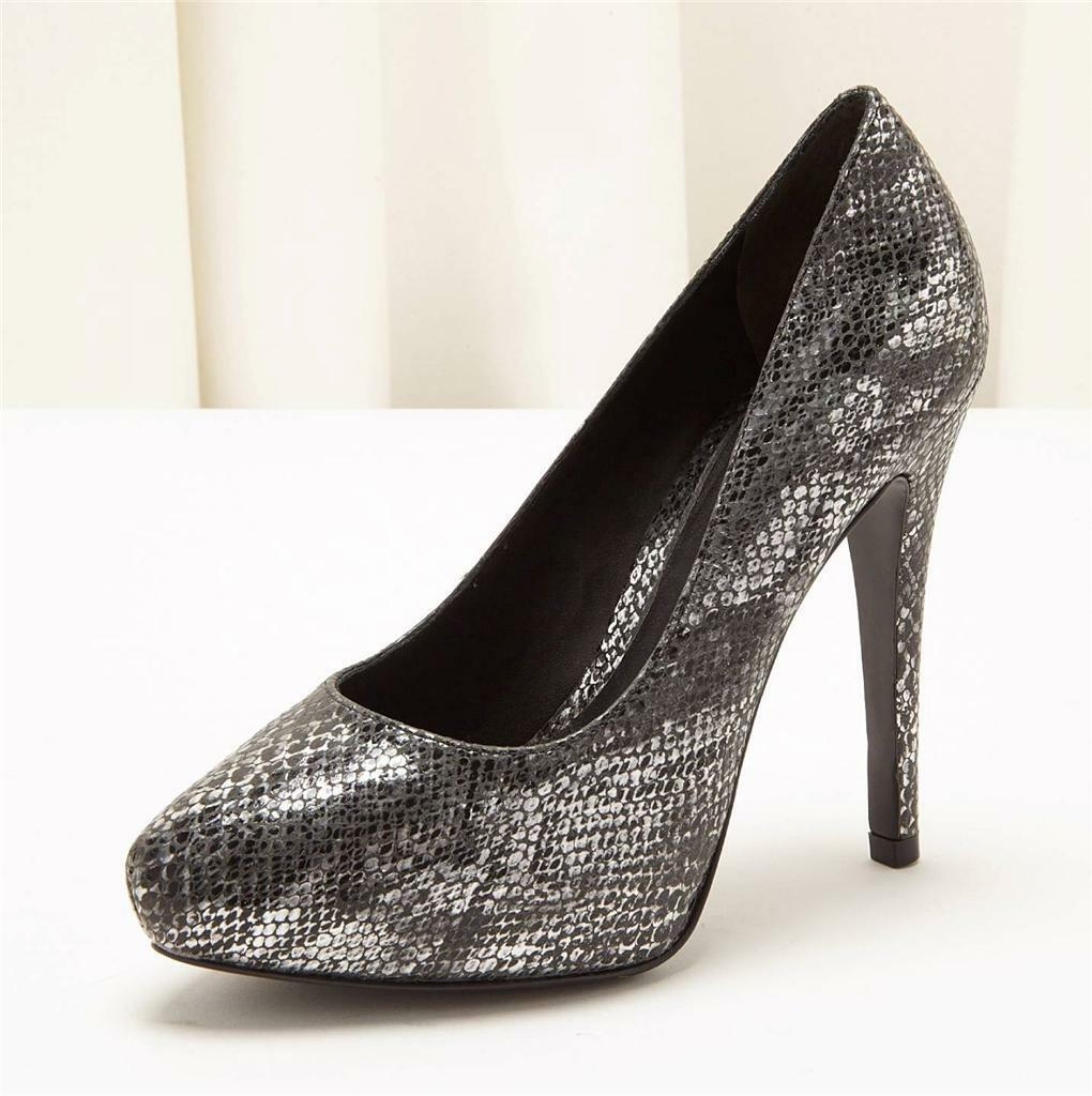 POUR LA VICTOIRE VICTOIRE LA Painted Silver Faux Snakeskin High Heel Pump Shoe 6.5 / 36.5 aaba9a