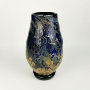 Brent-Cox-Art-Glass-Vase-8-5-034-Tall-Hand-Crafted-Signed-and-Dated-Cobalt-Blue