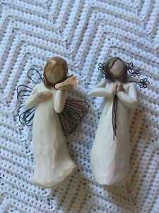 Lot-Of-2-Willow-Tree-Figurines-Angel-Of-Friendship-Thinking-Of-You-EUC