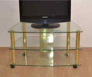 tv phonowagen hifi rack mit rollen chrom messing regal fernsehtisch rollbar ebay. Black Bedroom Furniture Sets. Home Design Ideas